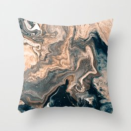 M A R B L E - copper & blue Throw Pillow