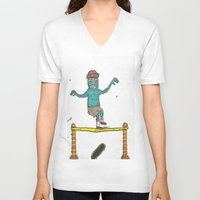 hippy V-neck T-shirts featuring Hippy Jump by BummerHighs