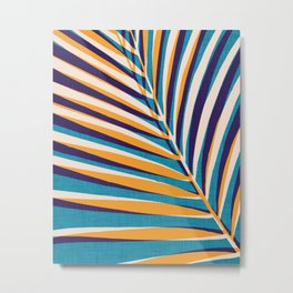 Gold and Navy Abstract Palm Frond Metal Print