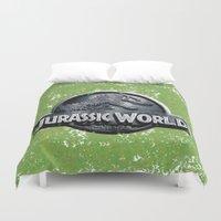 jurassic park Duvet Covers featuring Jurassic World by Illuminany