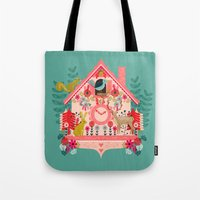 valentines Tote Bags featuring I'm Cuckoo For You - Valentines Cuckoo Clock  by Andrea Lauren Design