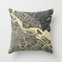 amsterdam Throw Pillows featuring Amsterdam by Map Map Maps
