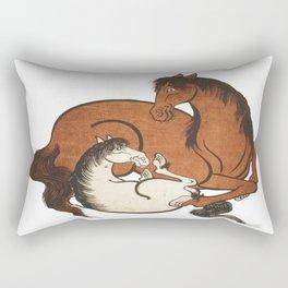 Hokusai – mare and foal, 葛飾 北斎,horse,caballo,equestrian,equine,yegua,potro,japan. Rectangular Pillow