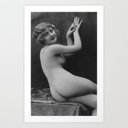 Victorian Vintage Posing Lady Erotic French Nude Outside Art Print
