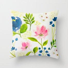 Garden Floral Stems Watercolor Throw Pillow