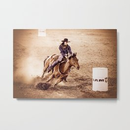 Barrel Racing Metal Print