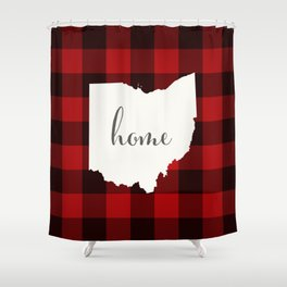 Ohio is Home - Buffalo Check Plaid Shower Curtain