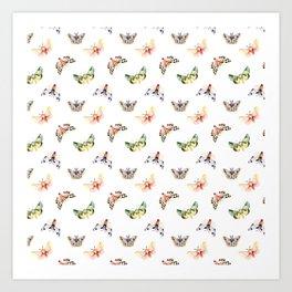 Autumn Moths Pattern Art Print