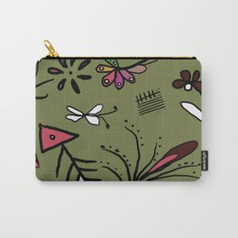 Green garden abstract drawing Carry-All Pouch