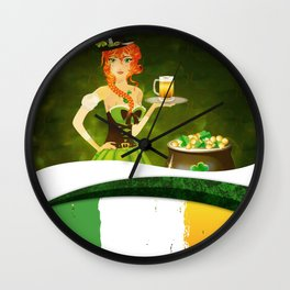 Leprechaun woman with beer Wall Clock