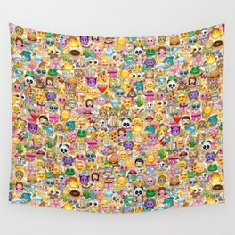 Emoticon pattern Wall Tapestry