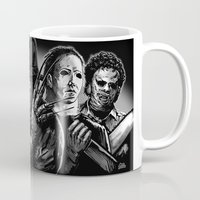 freddy krueger Mugs featuring Freddy Krueger Jason Voorhees Michael Myers leatherface Darth Vader Blackest of the Black by Scott Jackson Monsterman Graphic