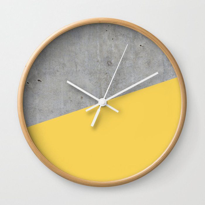 Concrete and Primrose Yellow Color Wall Clock by calacatta | Society6