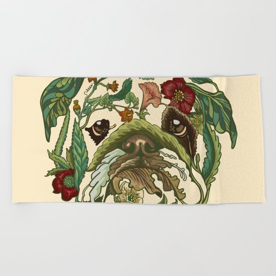 Botanical English Bulldog Beach Towel