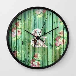 Vintage Floral Ampersand Turquoise Beach Wood Wall Clock