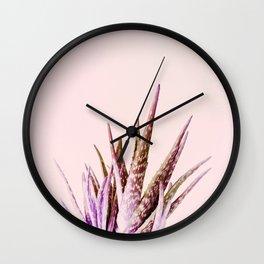 Duotone Aloe Vera on pastel Coral Wall Clock