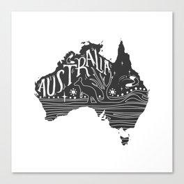 Australia map typo doodle Canvas Print