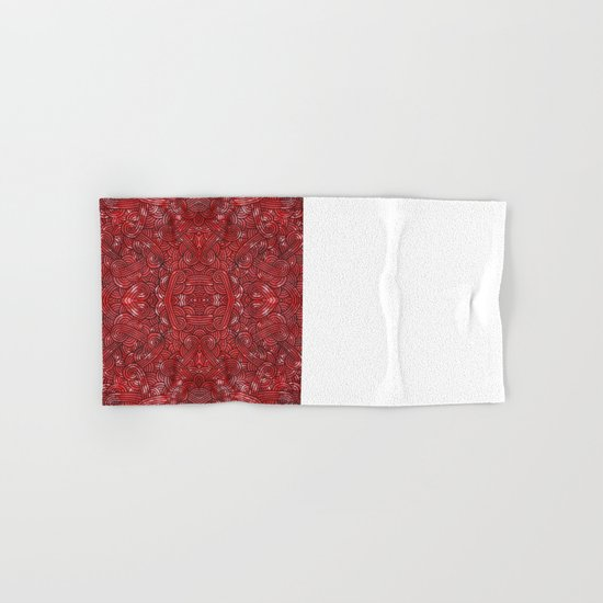 Red and black swirls doodles Hand & Bath Towel