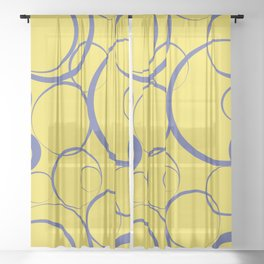 Yellow and Blue Funky Ring Pattern V18 2021 Color of the Year Illuminating & Accent Shade Sheer Curtain