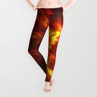 fractal Leggings featuring Fractal Flame Explosion by Charma Rose