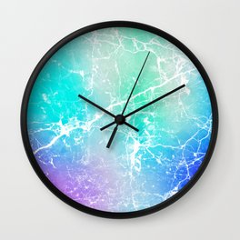 Modern turquoise purple watercolor abstract marble Wall Clock