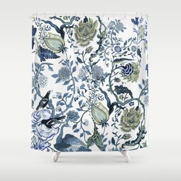 Blue vintage chinoiserie flora Shower Curtain