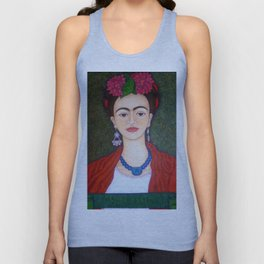 Frida portrait with dalias Unisex Tank Top