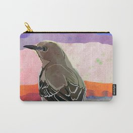 Mockingbird on a Wire Fence In The Sunset Watercolor Art Carry-All Pouch