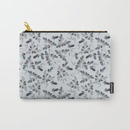 Grey Blue Floral Carry-All Pouch