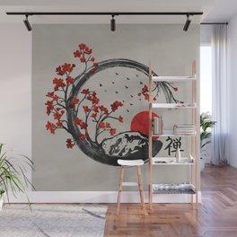 Zen Enso Circle and Sakura Branches Wall Mural