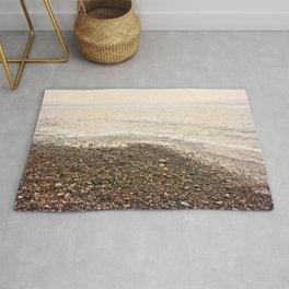 Dungeness Shoreline, Pebble Beach, Washington Seascape, Juan de Fuca, Coastal Photography Rug