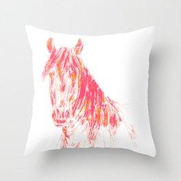 Pop Art Pony - Orange & Pink Horse Art Throw Pillow
