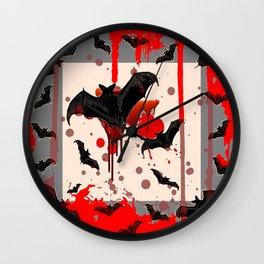 FLYING VAMPIRE BLACK BATS & HALLOWEEN BLOODY ART Wall Clock