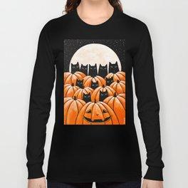 Black Cats in the Pumpkin Patch Long Sleeve T-shirt