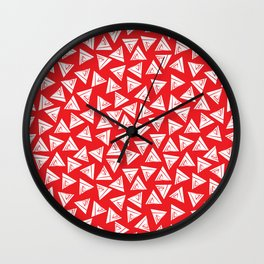 Triangle red and white Wall Clock