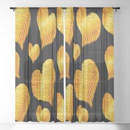 Curline hearts-Black Sheer Curtain