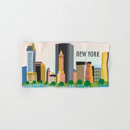 New York City, New York - Skyline Illustration by Loose Petals Hand & Bath Towel