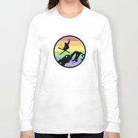 skiing Long Sleeve T-shirts featuring skiing 2 by Paul Simms