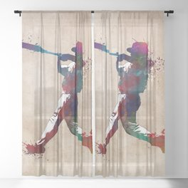 Baseball player 10 #baseball #sport Sheer Curtain