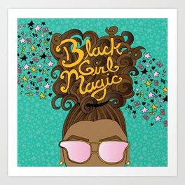 Black Girl Magic Teal Art Print