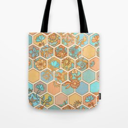 Golden Honeycomb Tangle - hexagon doodle in peach, blue, mint & cream Tote Bag