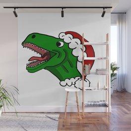 Santa T-Rex Christmas Sweater Wall Mural