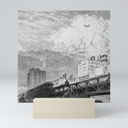 Men Working on Elevated Train Tracks, Looking at Airplane in Sky, etching, circa 1919 by Martin Lewis Mini Art Print