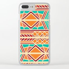 Tribal ethnic geometric pattern 027 Clear iPhone Case