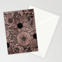 Floral Rose Gold Flowers and Leaves Drawing Black Stationery Cards
