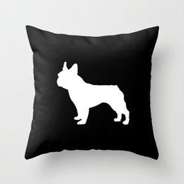Boston Terrier black and white silhouette minimal pet portrait dog silhouettes Throw Pillow