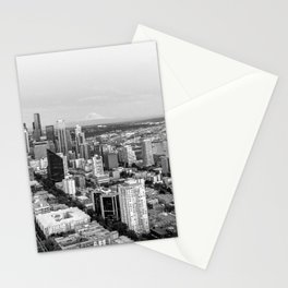 Seattle Skyline Harbor at sunset - black and white Stationery Cards