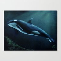 orca Canvas Prints featuring Orca by Wesley S Abney