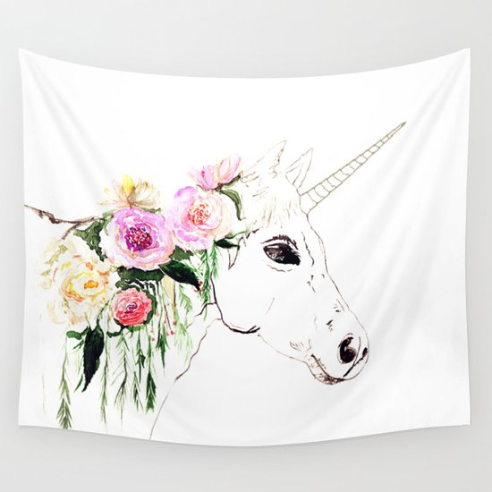 Unicorn, flowers, watercolor Wall Tapestry