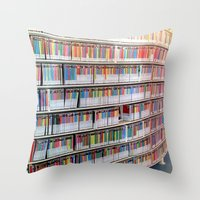 bookworm Throw Pillows featuring Bookworm by Anabella Nolasco